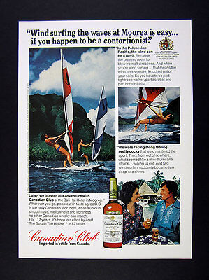 1975 Wind Surfers Surfing at Moorea photo CC Canadian Club vintage print Ad
