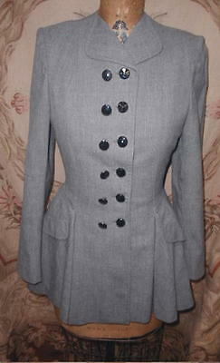 1948 Wasp Waist Victorian Revival Suit Jacket,Gray Wool,New Look Era,Jet Buttons