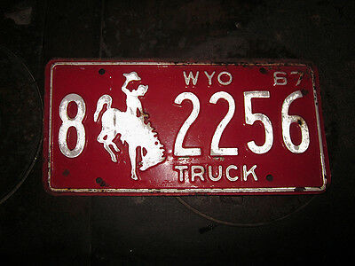 1967 Red Wyoming Truck License Plate 8 2256