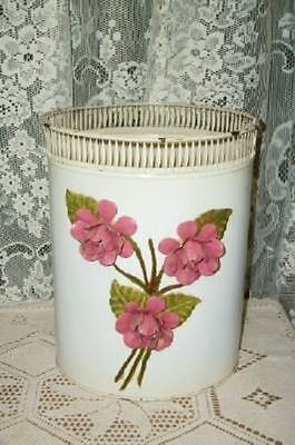 Chippy Chic Italian Tole Pink Roses Trash Can Waste Basket Shabby Awesome
