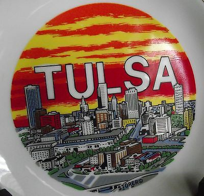 """Vintage Colorful Tulsa Oklahoma Souvenir 7"""" Plate by Storer Downtown Sunset"""