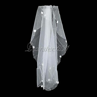 1 Tier Tulle Fabric Wedding Veil with Lace Flowers Pearls Bridal Decorations #03
