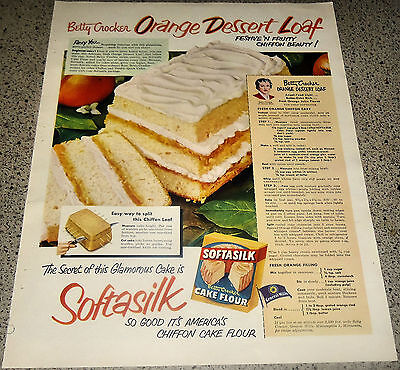 1951 Softasilk Cake Flour Orange Dessert Loaf Vintage Food Baking Retro Ad