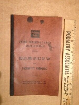 Chicago Burlington Quincy Railroad Rules And Rates Of Pay 1928 OLD Book