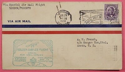 1928 CANADA FIRST FLIGHT LONDON TO TORONTO AAMC# 215e TO CANAL ZONE
