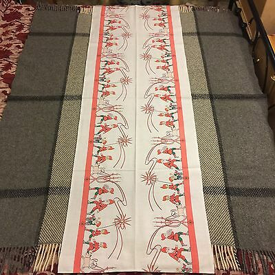 Antique Swedish Christmas Santa Runner Tablecloth Pigs Elves Candle Holders