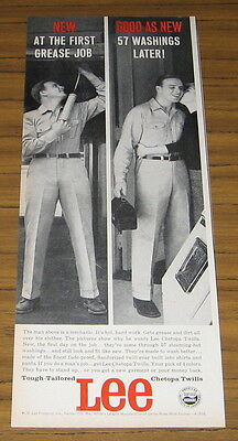 1959 Vintage Ad Lee Work Clothers Mechanic at Work and Home