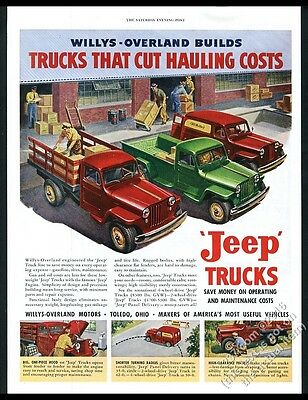 1949 Willys Jeep pickup panel delivery stakebed truck color art vintage print ad
