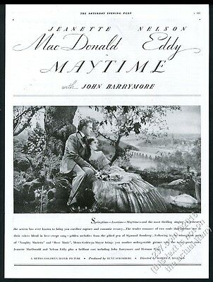 1937 Jeanette MacDonald Nelson Eddy photo Maytime movie release vintage print ad