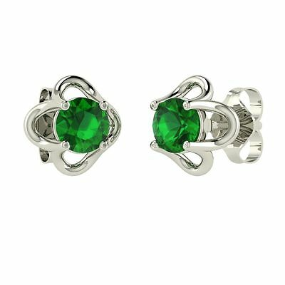0.50 Carat Natural Emerald Stud Earrings in 14k White Gold