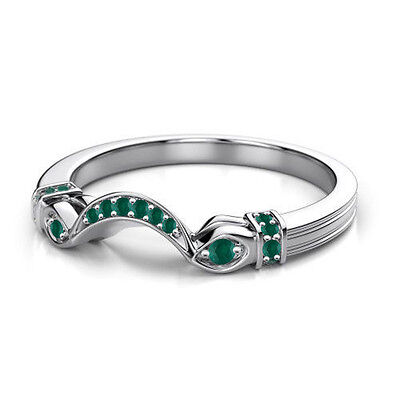 0.18 ct Green Emerald 14k White Gold Claddagh Wedding Band Ring Free Size