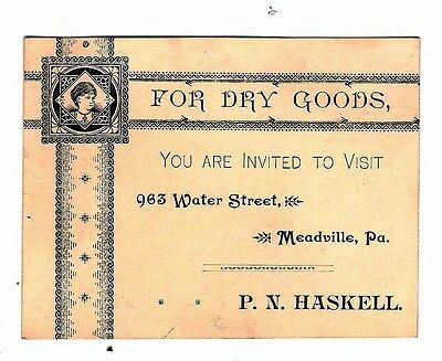 MEADVILLE, PA. - Antique Business Card from P.N. HASKELL, DRY GOODS