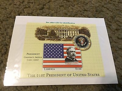 Liberia 2000 US Presidents Mint Stamp sheet Mint S/S Chester A. Arthur 21st pres