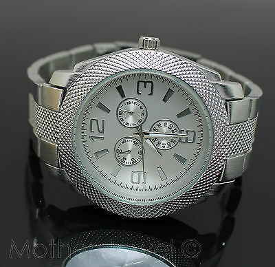 Great Gift Mens Womens Silver Stainless Steel Face Chronograph Wristwatch Watch