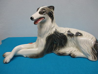 """Dog Borzoi/Russian Wolfhound porcelain figurine, signed 6½"""" tall & 13½"""" long"""