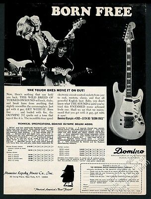 1967 Domino Olympic Custom electric guitar photo vintage print ad