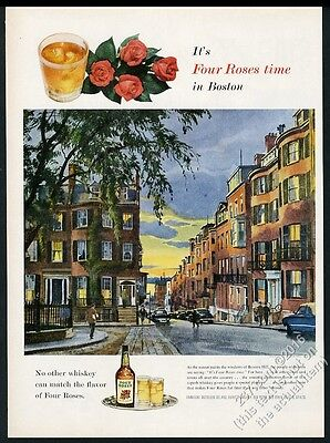 1955 Beacon Hill Boston evening art Four Roses whiskey vintage print ad