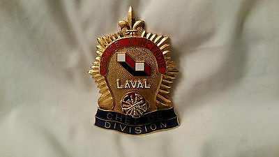 Canada QC Laval Incendie Fire Pompier Firefighter Badge Insigne Shield Chef