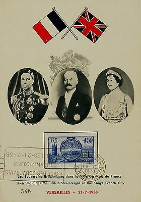 British Royal Visit,KGVI In France 1938,Stamp-Special Seal,Numerated Card