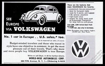 1955 VW Volkswagen Beetle classic car illustrated vintage print ad