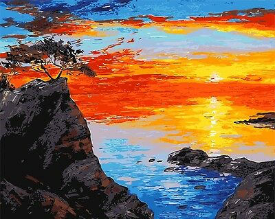 Framed Painting by Number kit Sunglow Big Sea Rock Sun Rising Fired Cloud BB7636
