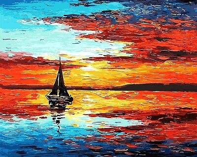 Framed Painting by Number kit Sunglow Big Sea Sun Rising Fired Cloud Boat BB7638