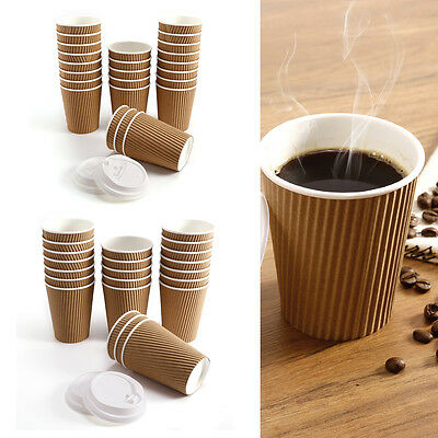 100pcs 8oz 12oz Disposable Paper Coffee Cups With White Sip Lids