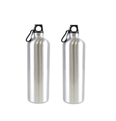 2 Pack 750Ml Light Weight Metal Water Bottle With Polished Finish And Carabiner