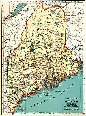 1939 Antique MAINE Map Collectible Map of Maine State Map Gallery Wall Art 3347