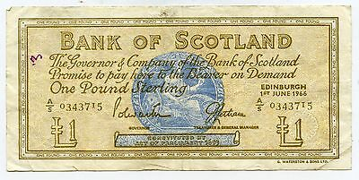 BANK OF SCOTLAND One POUND BANKNOTE 1st June 1966