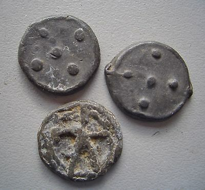 UK. Three Medieval Pewter.Lead tokens, ,  Good Very Fine condition, 17 - 18 mm
