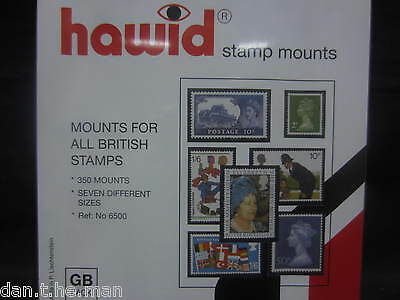 Hawid 350 Mounts For British Stamps In 7 Sizes - Gb Pack - Black - Supplies