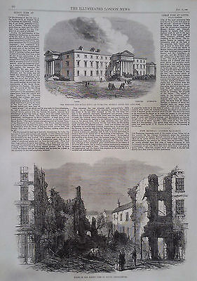1863 Print Theatre & Royal Hotel At Plymouth-Scene Of The Recent Fire At Louth