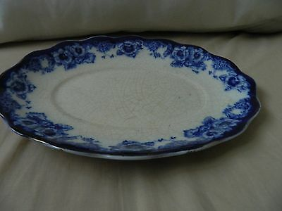 Vintage Sutherland china blue and white cake plate