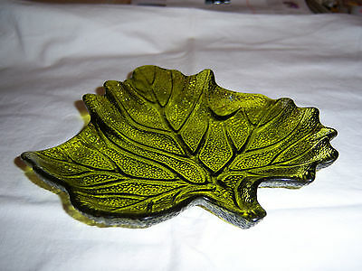 Vintage Green Glass Leaf Candy / Trinket Dish