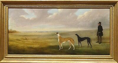 Fine Large 19th Century Greyhounds Coursing Hare Antique Oil Painting SARTORIUS