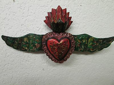 Winged Sacred Heart Tin Door Topper #6-Painted-Mexican Folk Art-Handmade-17x9 in