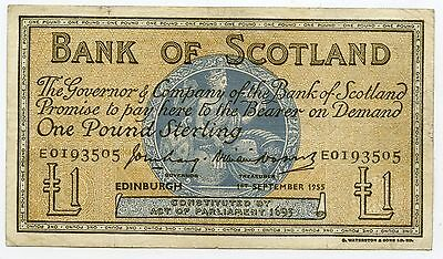 BANK OF SCOTLAND One POUND BANKNOTE 1ST SEPTEMBER 1955