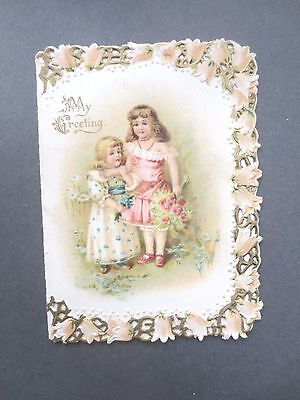 ANTIQUE New Year Card Embossed Diecut Edge Two Pretty Little Victorian Girls