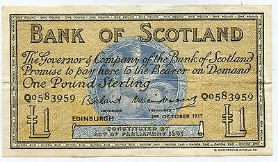 BANK OF SCOTLAND One POUND BANKNOTE 2ND OCTOBER 1957