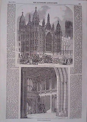 1854 Print The New Houses Of Parliament.-St Stephen's Porch