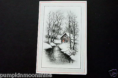 Vintage Unused Hand Colored Xmas Greeting Card Winter Cabin in Forest