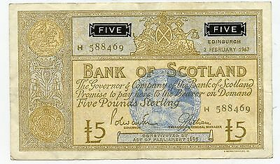 Bank Of Scotland Five Pound Banknote 12Th June 1939