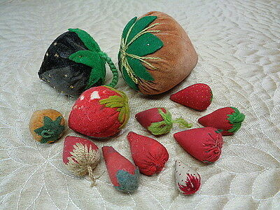 12 Old Velvet & Cloth Strawberry Pincushions Strawberries Berry Lot