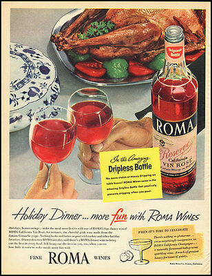 1955 vintage Christmas ad, 'More Holiday Fun with Roma Wines!'-090212