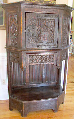 Antique Carved Gothic Style Furniture - Carved Side Cabinet