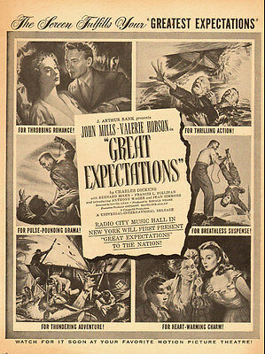1947 vintage movie ad for 'Great Expectations' with John Mills -071912