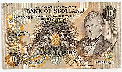 Bank Of Scotland Ten  Pound Banknote  20Th October 1986