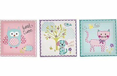 Cute Nursery Childrens Bedroom Owl Cat Dog Canvas Wall Art Pictures Set of 3