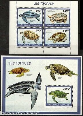 Olive ridley sea Turtle, Tortoise, Marine Life, Togo 2010 MNH SS+MS  -A15